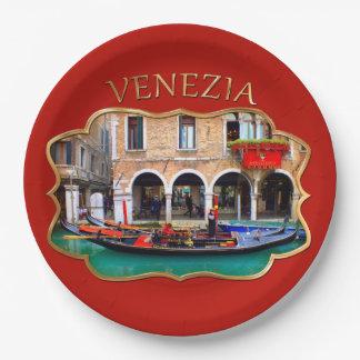 Gondolier in Cannaregio Paper Plate