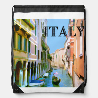 Gondolier in Venice Canal TEXT Italy Drawstring Backpack