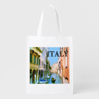 Gondolier in Venice Canal TEXT Italy Reusable Grocery Bag