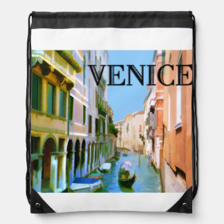Gondolier in Venice Canal TEXT Venice Drawstring Backpack