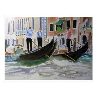 Gondoliers Italy Postcard