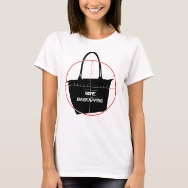 Beach Themed Gone Bagnapping Target Red & Black Text T-Shirt