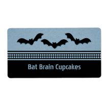 Gone Batty Halloween Baking Labels, Light Blue