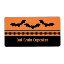 Gone Batty Halloween Baking Labels, Orange Shipping Label