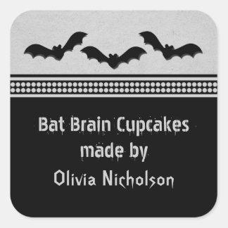 Gone Batty Halloween Baking Stickers, Light Gray Square Sticker