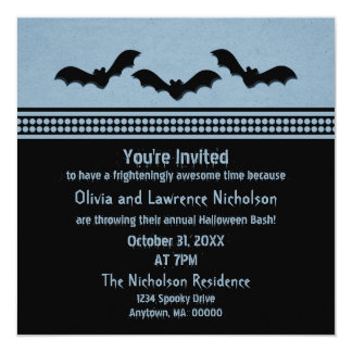 Gone Batty Halloween Party Invite, Light Blue