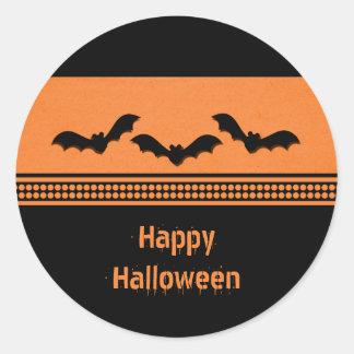 Gone Batty Halloween Stickers, Orange Classic Round Sticker