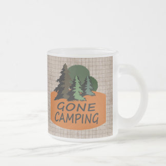 Gone Camping Happy Camper Logo 10 Oz Frosted Glass Coffee Mug