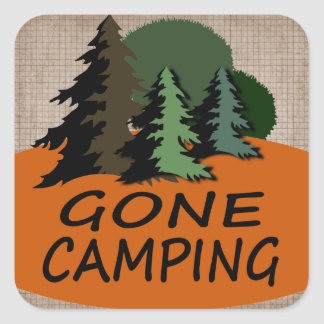 Gone Camping Happy Camper Logo Square Sticker