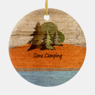 Gone Camping Wood Look Nature Lovers Ceramic Ornament