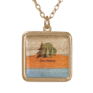 Gone Camping Wood Look Nature Lovers Gold Plated Necklace