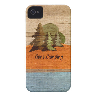 Gone Camping Wood Look Nature Lovers iPhone 4 Case-Mate Case
