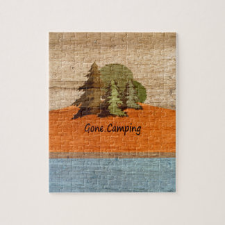 Gone Camping Wood Look Nature Lovers Jigsaw Puzzle