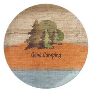 Gone Camping Wood Look Nature Lovers Party Plate
