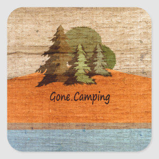 Gone Camping Wood Look Nature Lovers Square Sticker