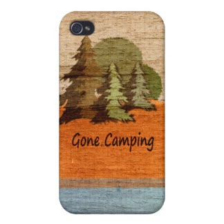 Gone Camping Wood Look Tent and Trees iPhone 4 Case