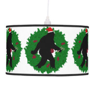 Gone Christmas Squatchin' With a Wreath Hanging Lamp