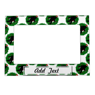 Gone Christmas Squatchin With a Wreath Frame Magnet