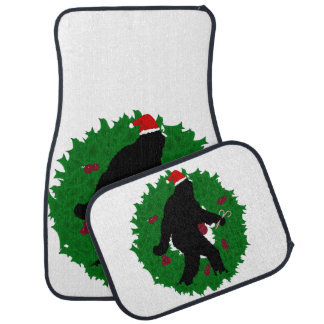 Gone Christmas Squatchin' With a Wreath Floor Mat