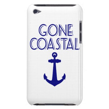 Beach Themed Gone Coastal Navy Blue Anchor Barely There iPod Cover