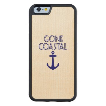 Beach Themed Gone Coastal Navy Blue Anchor Carved® Maple iPhone 6 Bumper Case