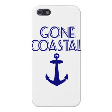 Beach Themed Gone Coastal Navy Blue Anchor Cover For iPhone SE/5/5s