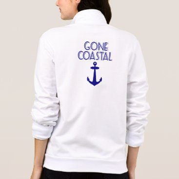 Beach Themed Gone Coastal Navy Blue Anchor Jacket