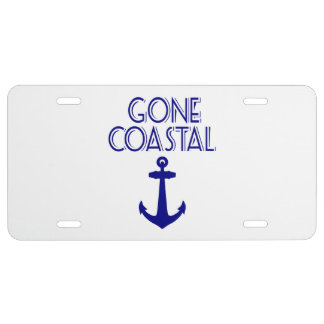 Gone Coastal Navy Blue Anchor License Plate