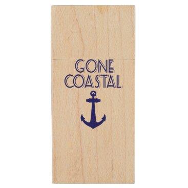 Beach Themed Gone Coastal Navy Blue Anchor Wood Flash Drive