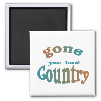 gone country yeehaw 2 inch square magnet