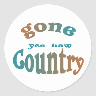 gone country yeehaw classic round sticker