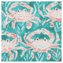 GONE CRABBIN' Nautical Whimsical Crab Watercolor Fabric