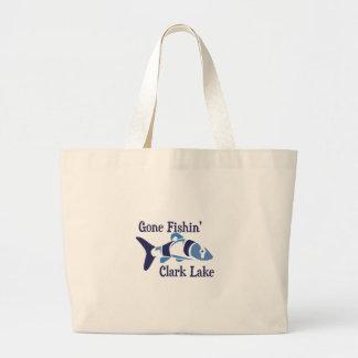 Gone Fishin' Clark Lake Large Tote Bag