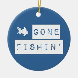 Gone Fishin' (custom colors) Ceramic Ornament
