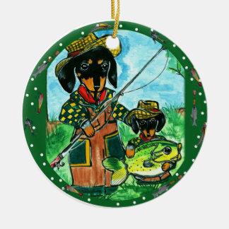 Gone Fishin Dachshunds Ceramic Ornament