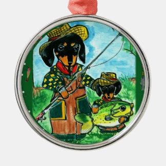Gone Fishin Dachshunds Metal Ornament