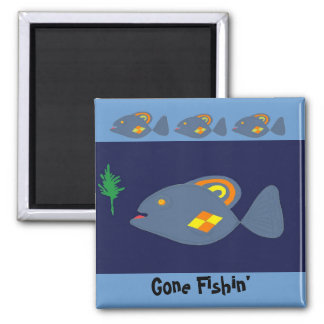 Gone Fishin' -magnet 2 Inch Square Magnet