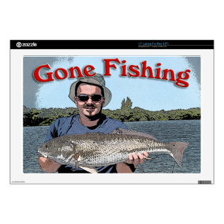 "gone fishing 17"" laptop decals"