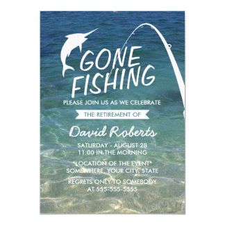 Gone Fishing Beach Retirement Party Card