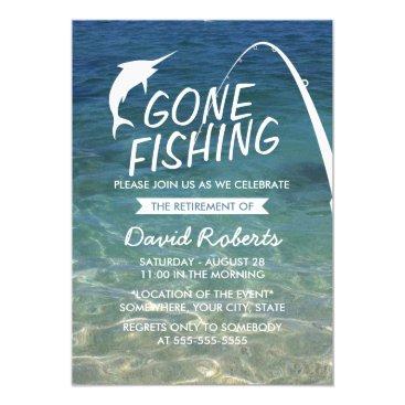 myinvitation Gone Fishing Beach Retirement Party Card