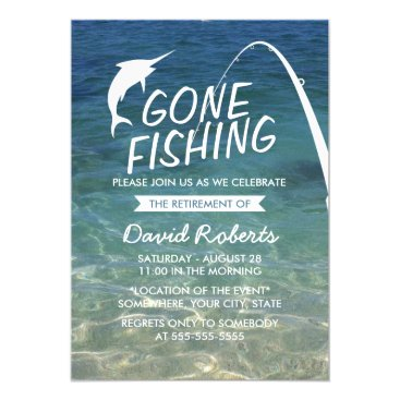 Beach Themed Gone Fishing Beach Retirement Party Card