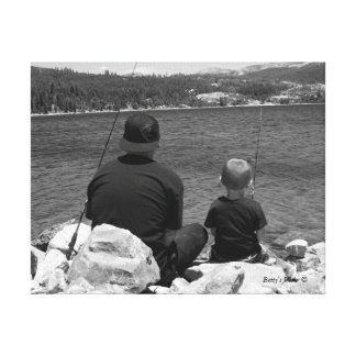 Gone Fishing - black and white Canvas Print