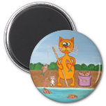Gone Fishing Cat and Mouse Magnet