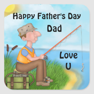 Gone Fishing Dad Fisherman Square Sticker