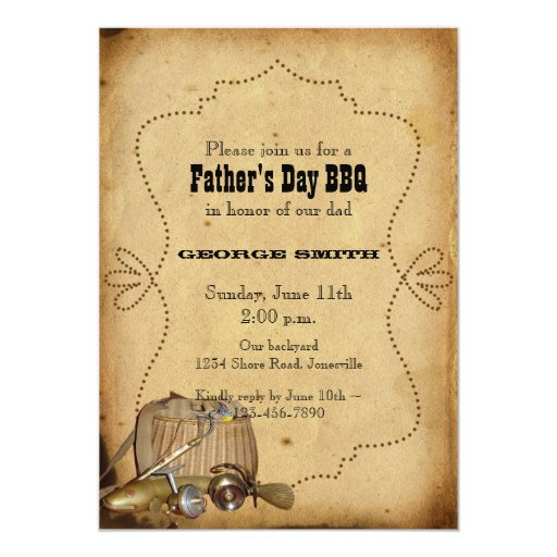 Gone fishing father 39 s day party invitation zazzle for Father s day fishing card