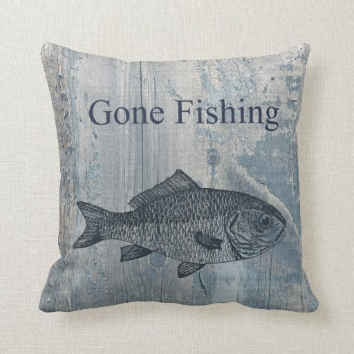 Gone fishing fish throw pillow zazzle for Fish throw pillows