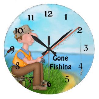 Gone Fishing Fisherman Clocks