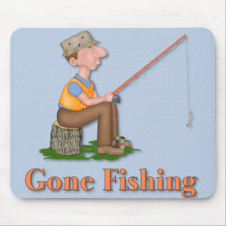 Gone Fishing Fisherman Mouse Pad