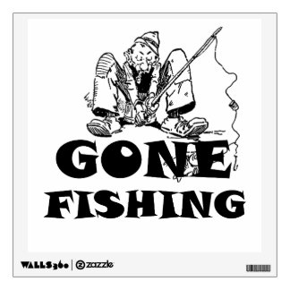 Gone Fishing Funny Wall Decal