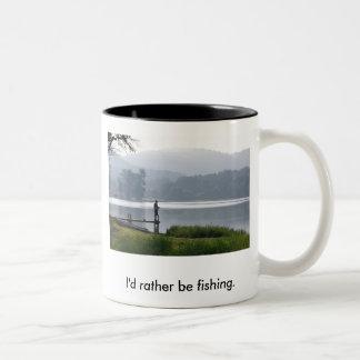 Gone Fishing, I'd rather be fishing. Coffee Mug
